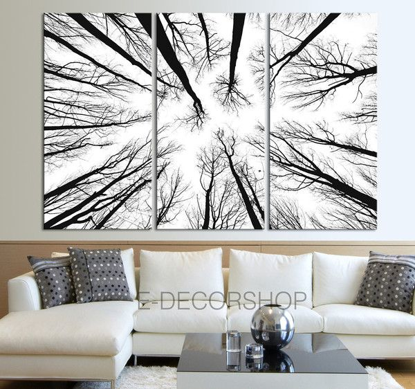 Dry Tree Branches Wall Art Canvas Print Forest Canvas Art Print .