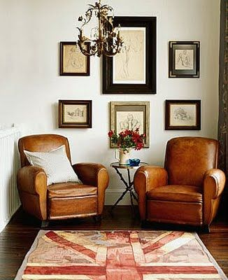 union-jack-rug + leather club chairs = my style | Living room .