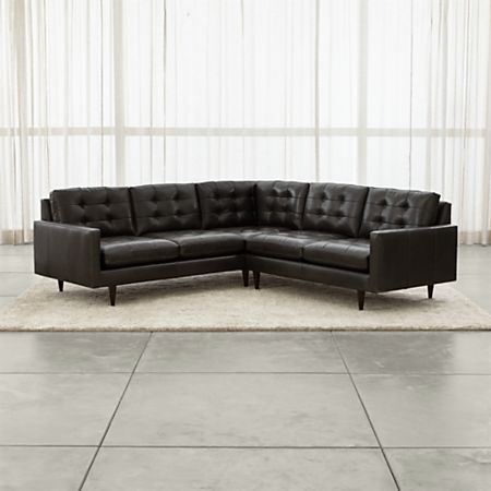 Petrie Leather 2-Piece Corner Midcentury Sectional Sofa + Reviews .