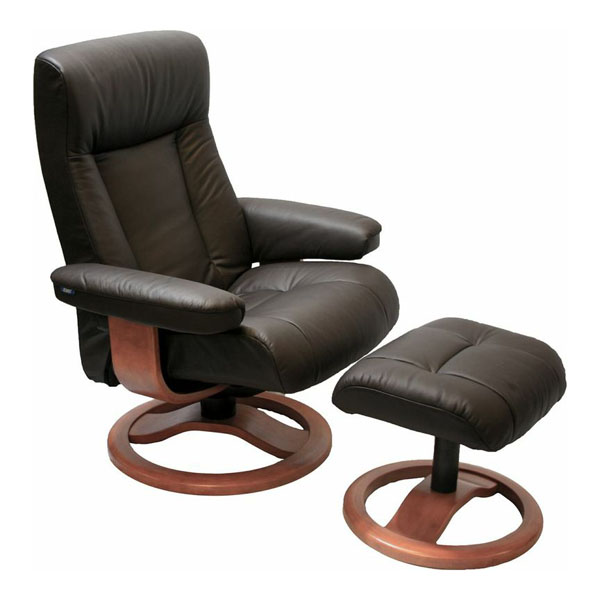 Scansit 110 Ergonomic Leather Recliner Chair + Ottoman .