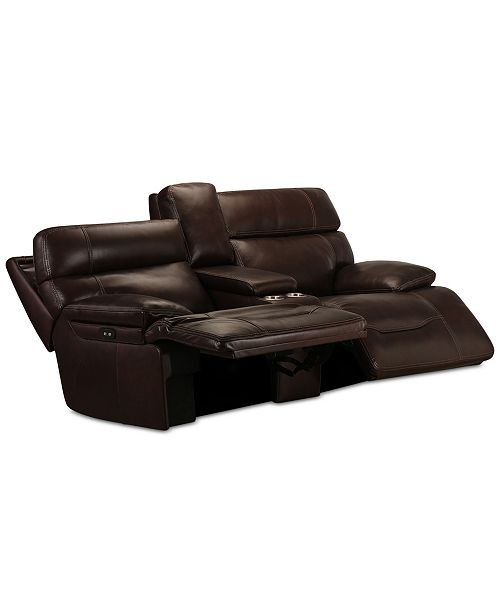 """Furniture CLOSEOUT! Barington 81"""" Leather Loveseat with 2 Power ."""