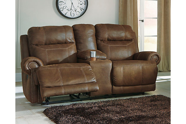 Austere Reclining Loveseat with Console Brown - Triad Goodwi