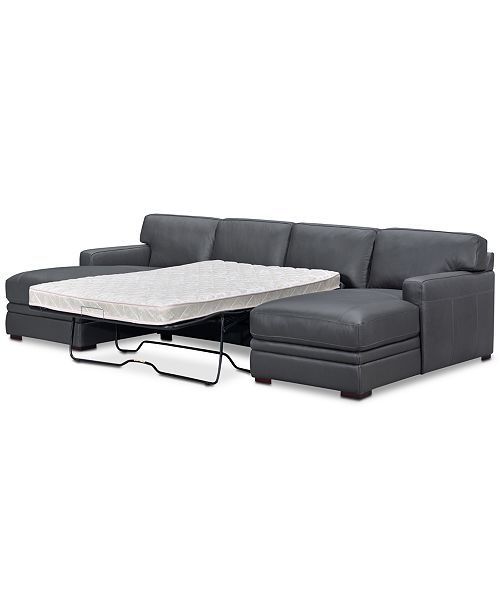 Furniture Avenell 3-Pc. Leather Sectional with Double Chaise .