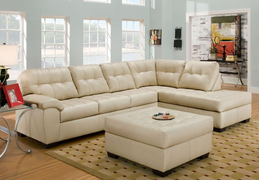 Simmons SoHo Pearl Showtime Breathable Leather Chaise Sofa .