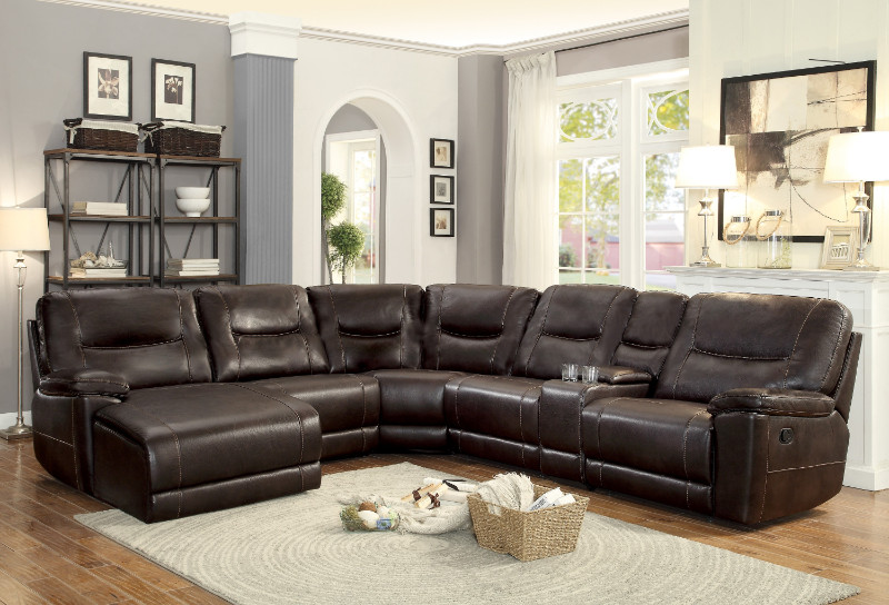 HE-8490-6pc 6 pc Columbus dark brown leather gel match sectional .