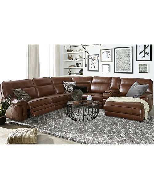 Furniture Myars 6-Pc. Leather Chaise Sectional Sofa With 1 Power .