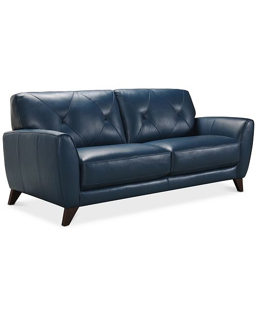 """Furniture Myia 82"""" Leather Sofa, Created for Macy's & Reviews ."""