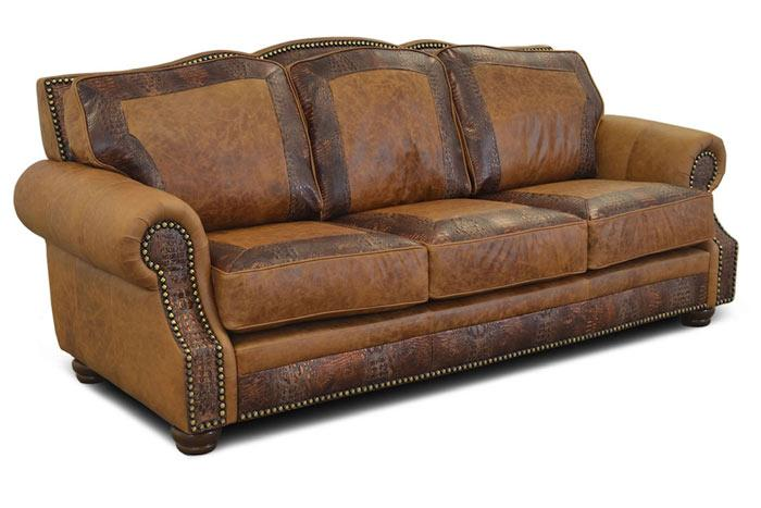 Almont Rustic Leather Sofa   Western Leather Sofas   Hat Creek .