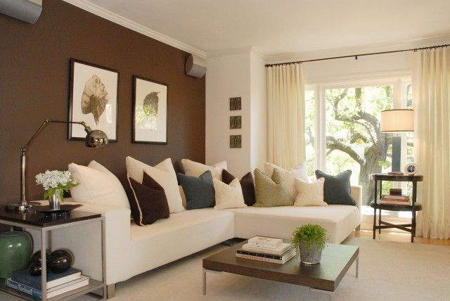 Love the brown accent wall   Accent walls in living room, Living .