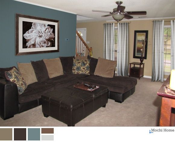 Teal and Brown Living Room | peacock teal, chocolate brown and .