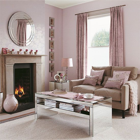 Shell pink living room with reflective accessories | Mauve living .