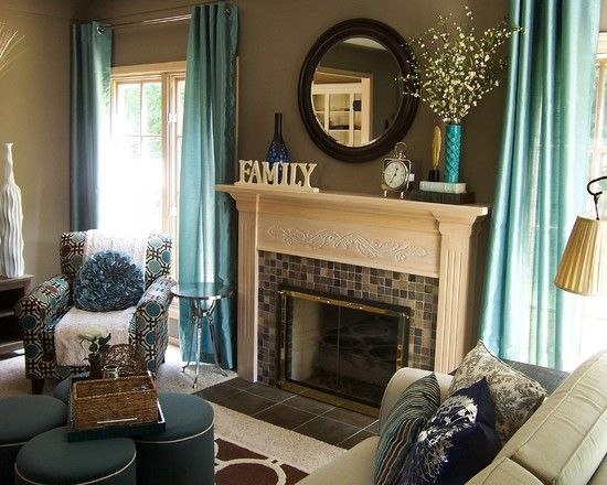 Furniture: Contemporary Teal Living Room Accessories Like Curtains .