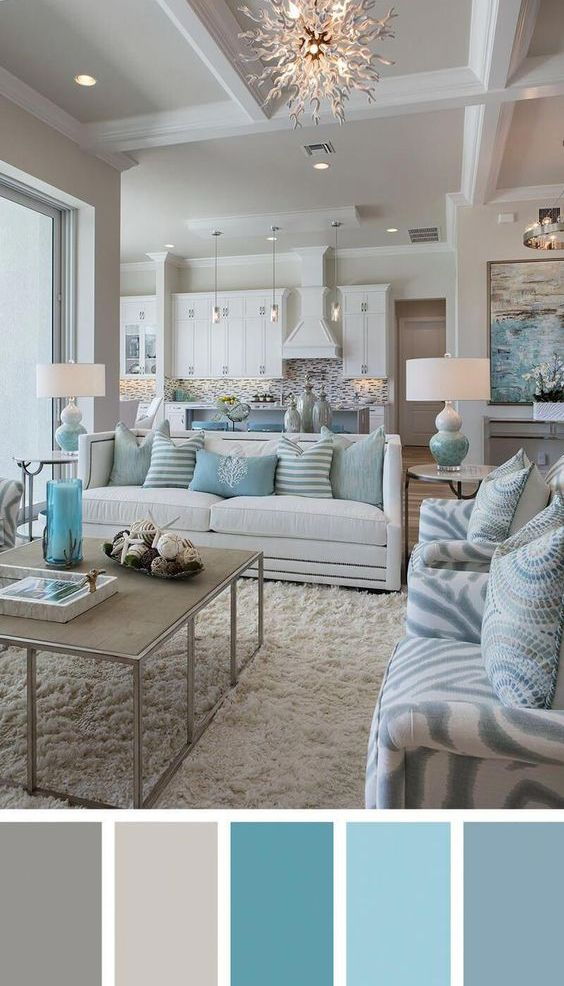 Cozy Chic Coastal Living Room in White, Aqua & Gray | Paint colors .