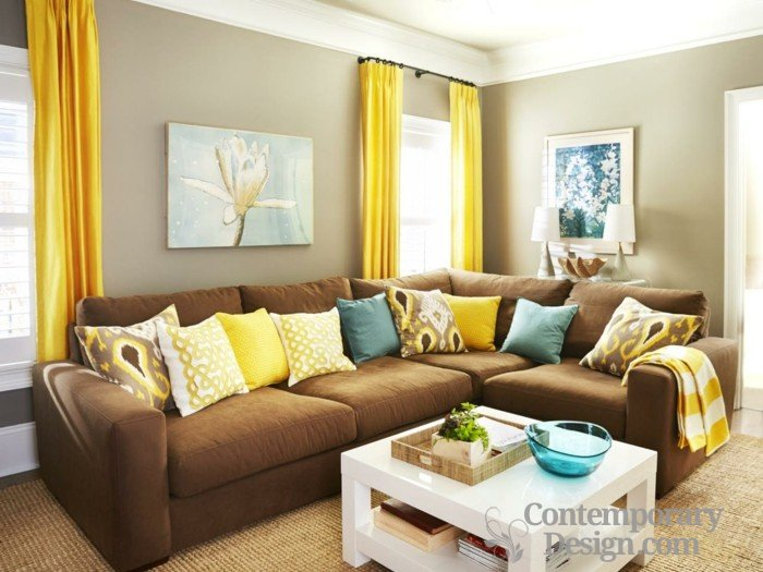 Living room paint color ideas with brown furnitu