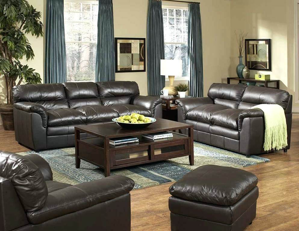 Living Room Black Leather Sofa Contemporary Masculine All Sets Set .