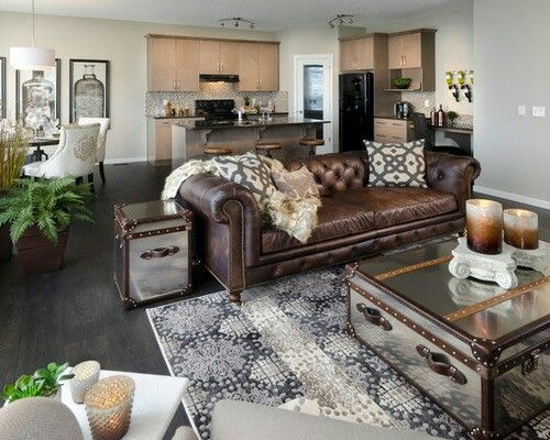 Decor around distressed leather sofa … | Gray living room design .