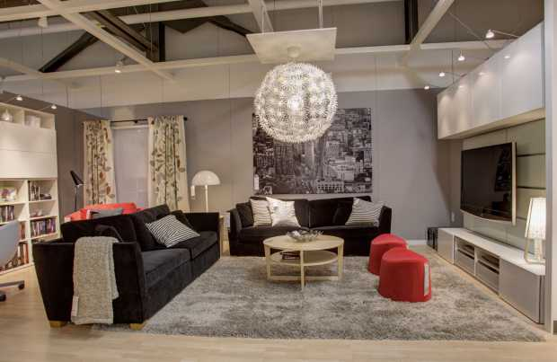 This living room setting, one of 55 spread throughout the new IKEA .