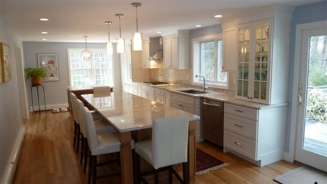 long narrow kitchen with island | Long narrow kitchen - if we .