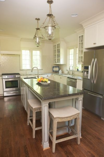 narrow island with seating | Narrow kitchen island, Narrow kitchen .