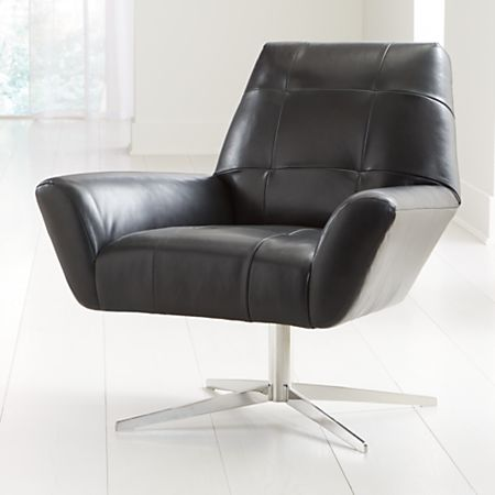 Rhodes Swivel Leather Lounge Chair | Crate and Barr