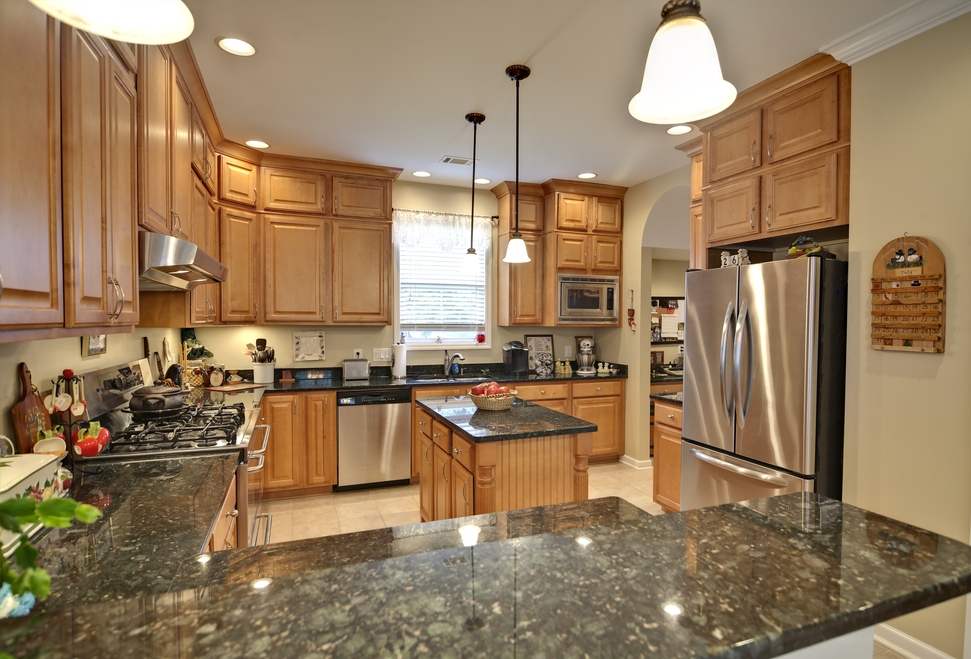 Kitchen Maple Kitchen Cabinets And Wall Color Impressive On .