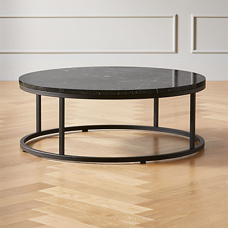 Smart Round Black Marble Coffee Table + Reviews   C