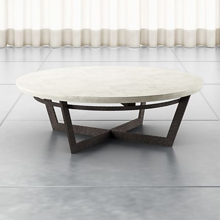Verdad Round White Marble Coffee Table + Reviews   Crate and Barr