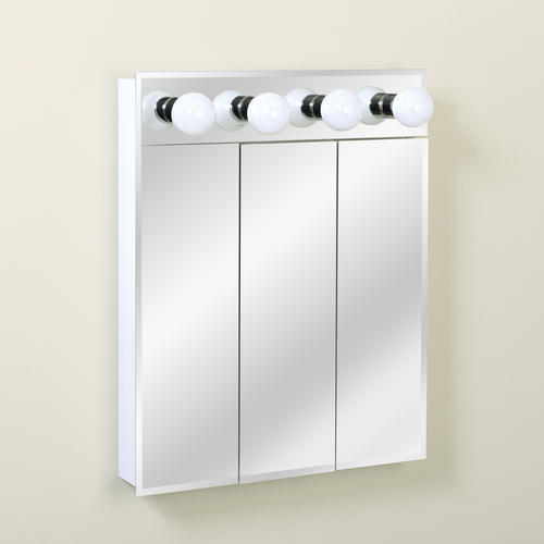 "Zenith 24"" Lighted Tri-View Medicine Cabinet at Menards"