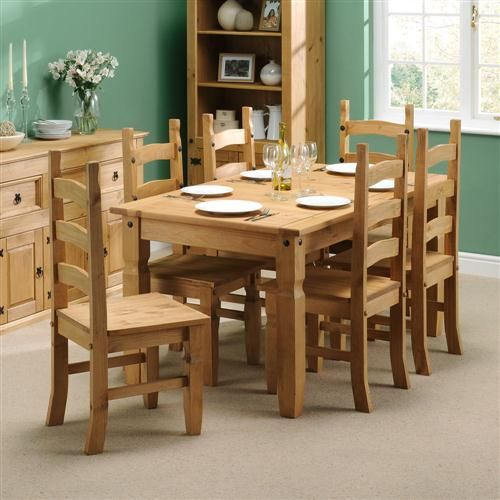 Corona Mexican Pine 152cm Dining Table with 6 Chairs including .