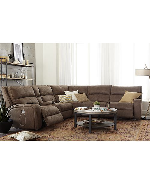Furniture Brant Fabric Power Reclining Sectional Sofa Collection .