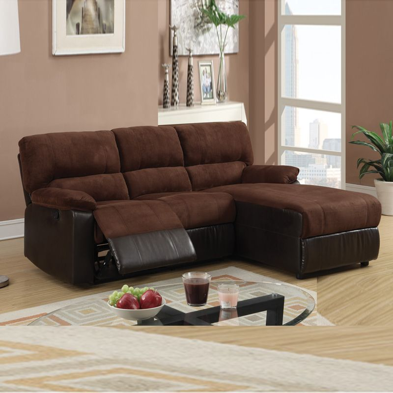 Mini Sectional W Reversible Chaise | PC Small Chocolate Microfiber .