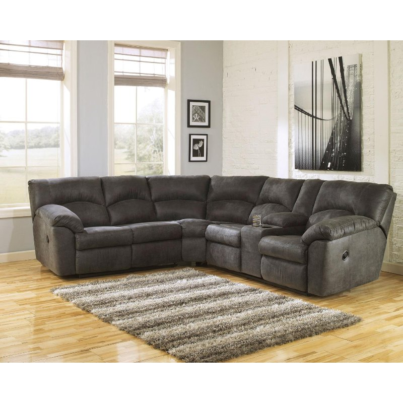 Gray 2 Piece Pewter Reclining Sectional Sofa - Tambo | RC Willey .