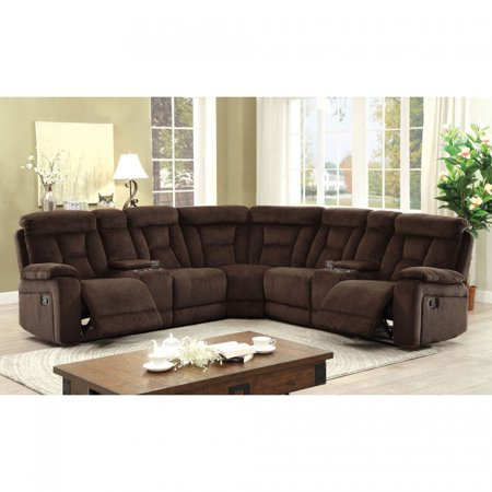 Recliner Sectional Sofa Brown Chenille Fabric Sectional Sectionals .