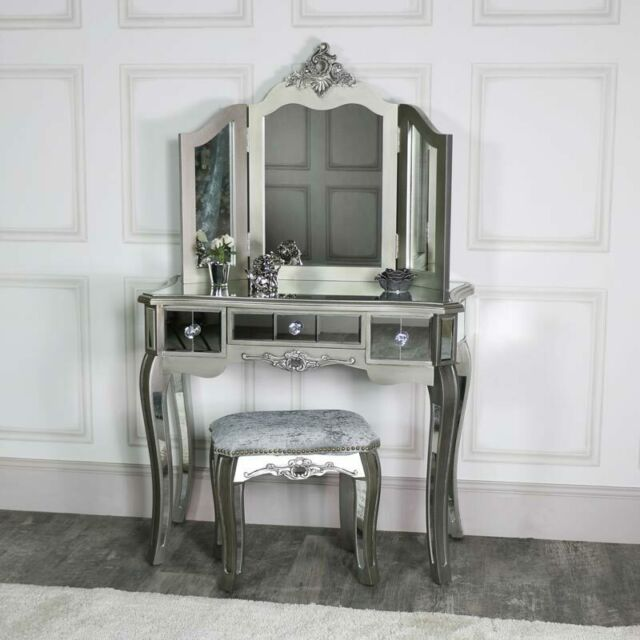Silver mirrored dressing table stool mirror ornate bedroom .