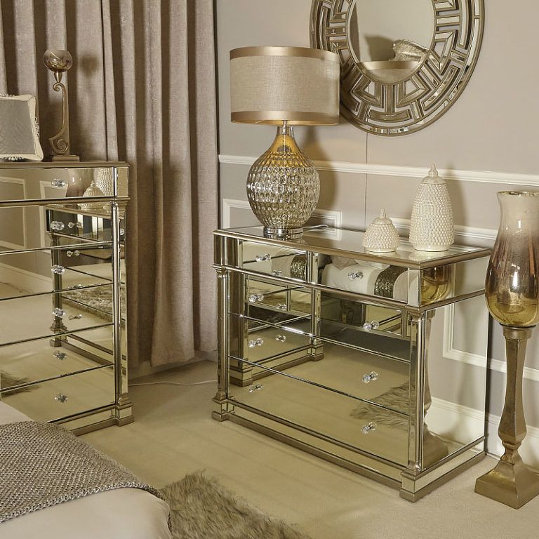 Athens Gold Mirrored 4 Door 3 Drawer Cabinet Sideboard in 2020 .
