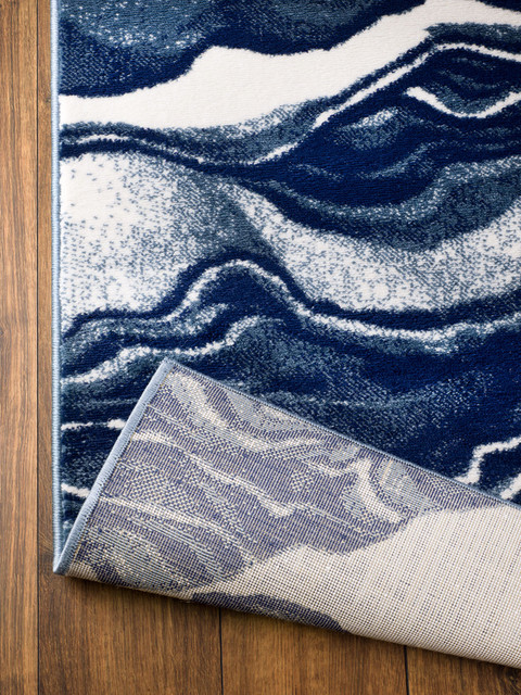 Madison Collection, HM403, Blue Marble, Modern Area Rug .