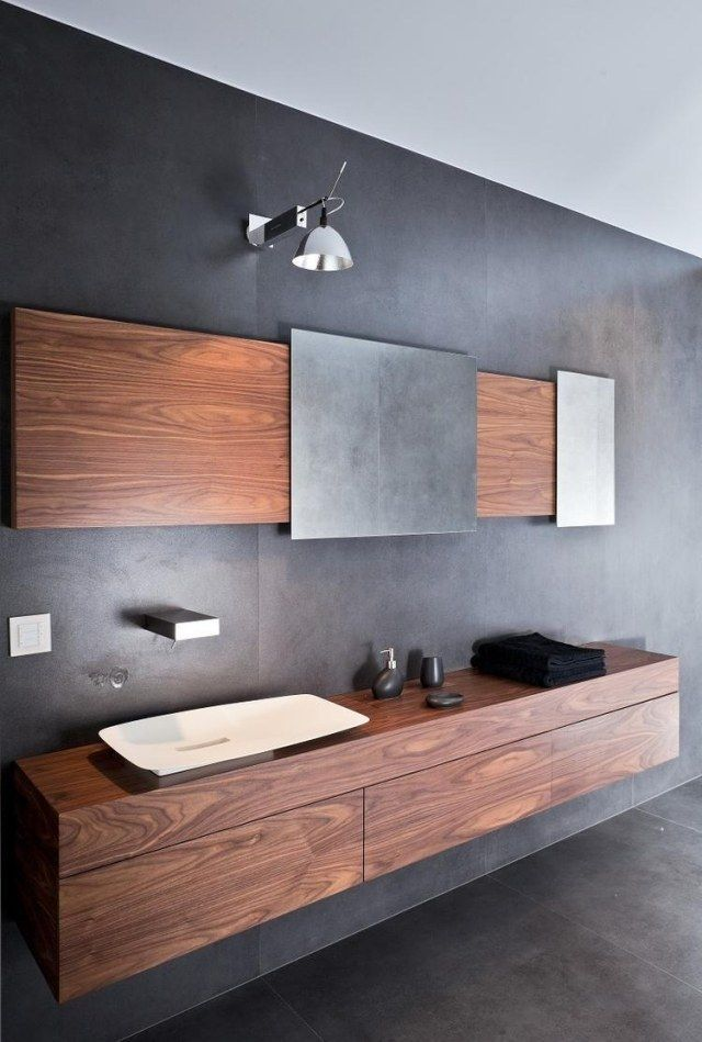 Modern floating vanity cabinets – airy and elegant bathroom .