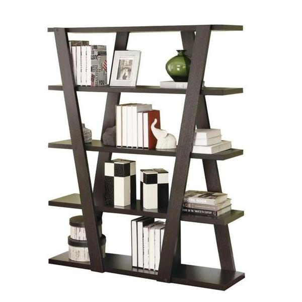 Modern Bookshelf with Inverted Supports & Open Shelves– Adams .