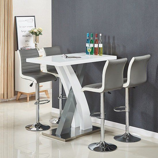 Axara Bar Table In White And Grey Gloss With 4 Ritz Grey Stools .