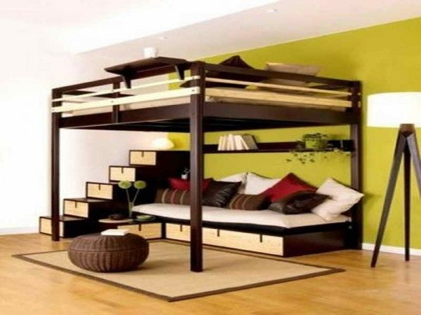 diy free standing adult loft bed with built in couch below .