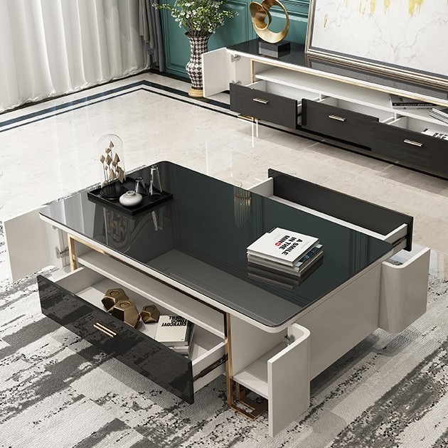 Hoxo White and Black 51 Inch Storage Coffee Table Modern Coffee .