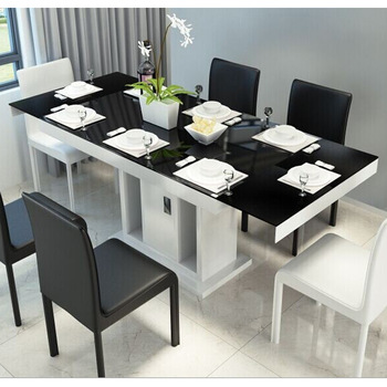 Tempered glass top dining table set extendable modern dining table .