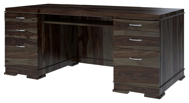 Blanford Modern Solid Wood Office Executive Desk With Keyboard .