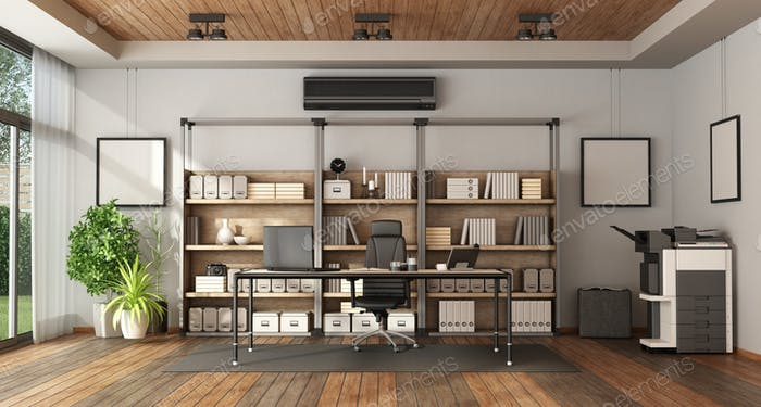 Modern office with bookcase and desk photo by archideaphoto on .