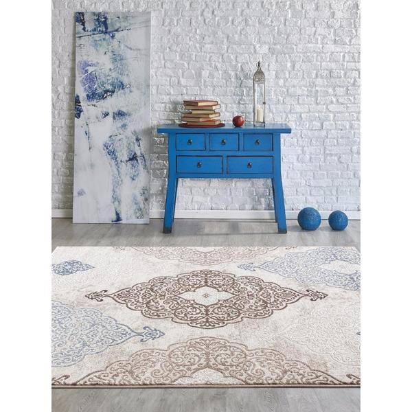 Shop Persian Rugs Modern Oriental Multicolor with Blue Area Rug .