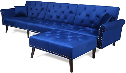 Amazon.com: Sectional Sofa Bed with Chaise Recliner Back Modern .