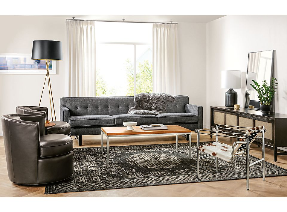 André Sofa and Otis Swivel Chairs Living Room - Room & Boa