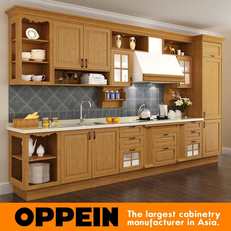 China Red Oak Solid Wood Wholesale Modular Kitchen Cabinetry (OP15 .