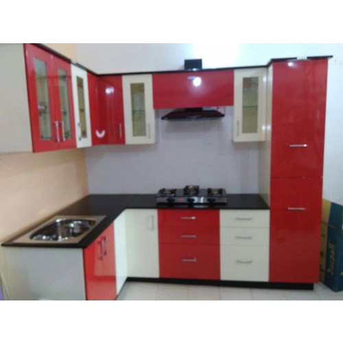 Red And White Modular Kitchen Cabinets at Rs 65000 /unit | Bagmari .