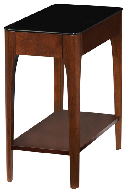 Leick Obsidian Glass Top Narrow End Table in Chestnut .